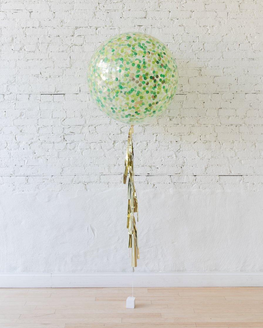 Большой шар с круглым конфетти джунгли на гирлянде