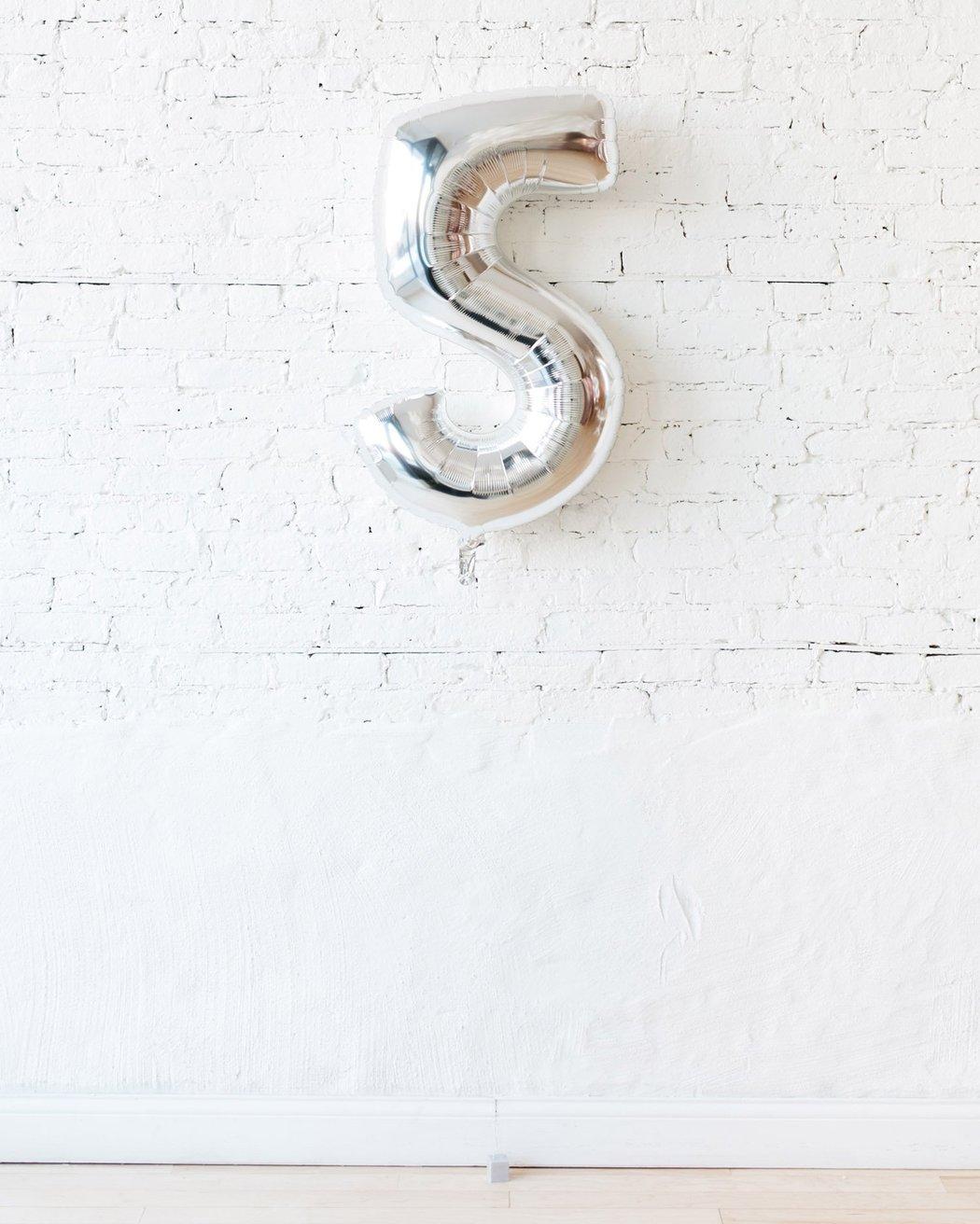 Шар фигура цифра 5 Silver