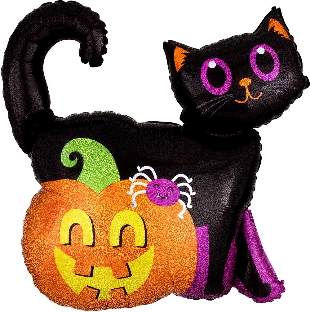 Шар фигура Кот черный и Тыква блеск