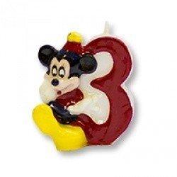 Свеча цифра 3 Микки Маус 7см