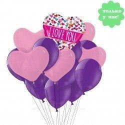 Букет из шаров Розовые Сердца