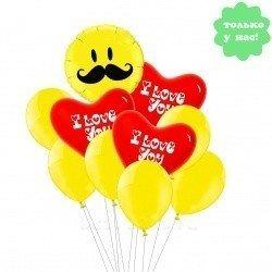 Букет из шаров Усатая Любовь