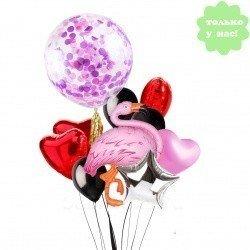 Букет из шаров Фламинго и Конфетти