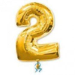 Шар фигура цифра 2 Gold