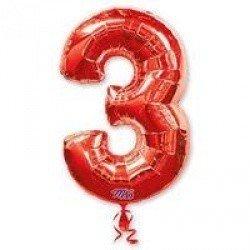 Шар фигура цифра 3 Red
