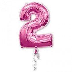 Шар фигура Цифра 2 Розовая