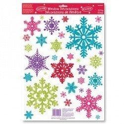 Наклейки на окно Снежинки разноцветные