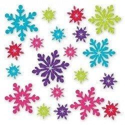 Баннер-комплект Снежинки разноцветные