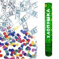 Пневмохлопушка 40 см Доллары и конфетти из фольги