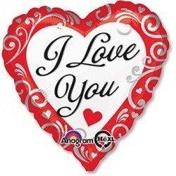 Шар Джамбо ILY Сердце белое с завитками