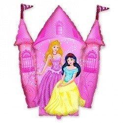Шар-фигура Принцессы и Замок розовый