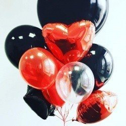 Букет из шаров черно-красный с сердцами
