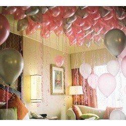 Шарики под потолок  Розовое серебро 25 шт