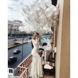 Облако шаров  Серебряный жемчуг 100 шт