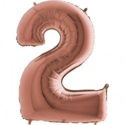 Шар фигура цифра 2 Розовое золото