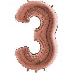 Шар фигура цифра 3 Розовое золото