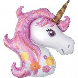 Шар фигура Единорог голова розовый