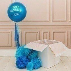 Коробка с шарами «С днем рождения» синий