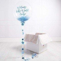 Коробка с шарами «На выписку» синий