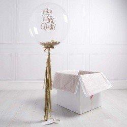 Коробка с шарами «С днем рождения» кремовый