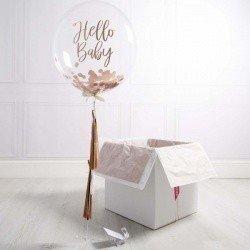 Коробка с шарами «На выписку» золотой