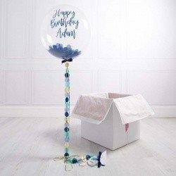 Коробка с шарами «С днем рождения» синие конфетти